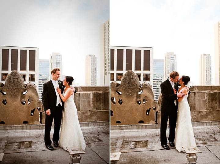 Chicago Wedding Photography First Look Roof Top Chicago Skyline