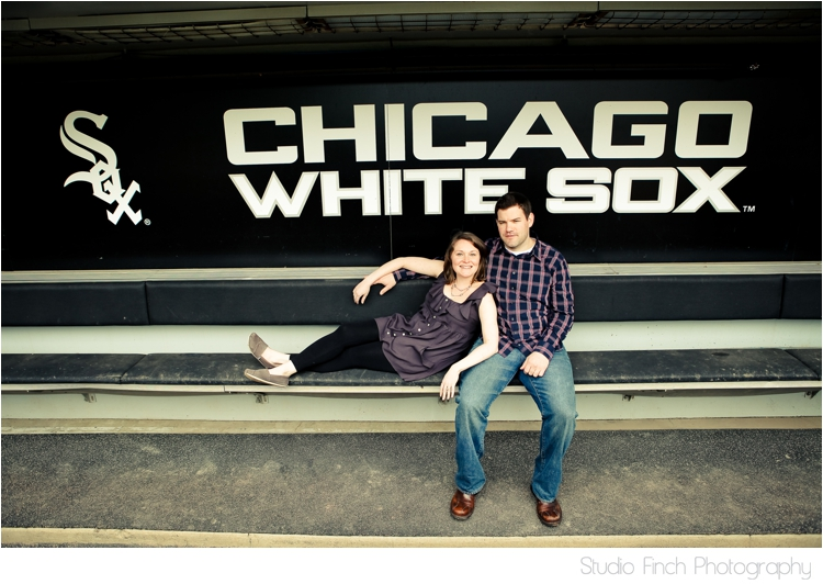 Chicago White Sox Engagement Photo Dugout US Cellular Field by Studio Finch