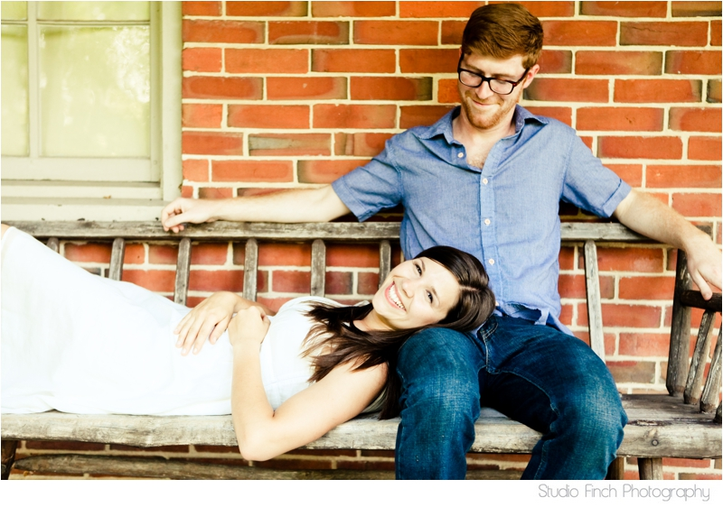 Unique Engagement Photo Couple on Bench by Studio Finch