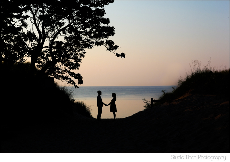 Sunset Lake Michigan in Indiana Engagement Photo By Studio Finch