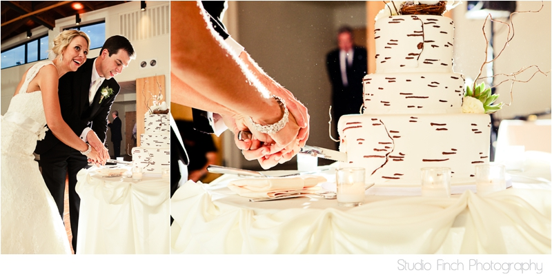birch tree wedding cake cutting