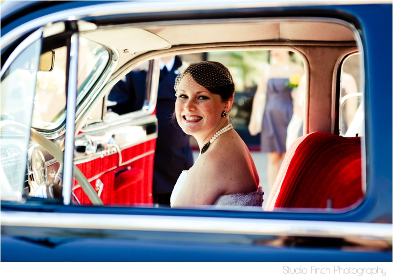 Vintage Cadillac Bride in Car