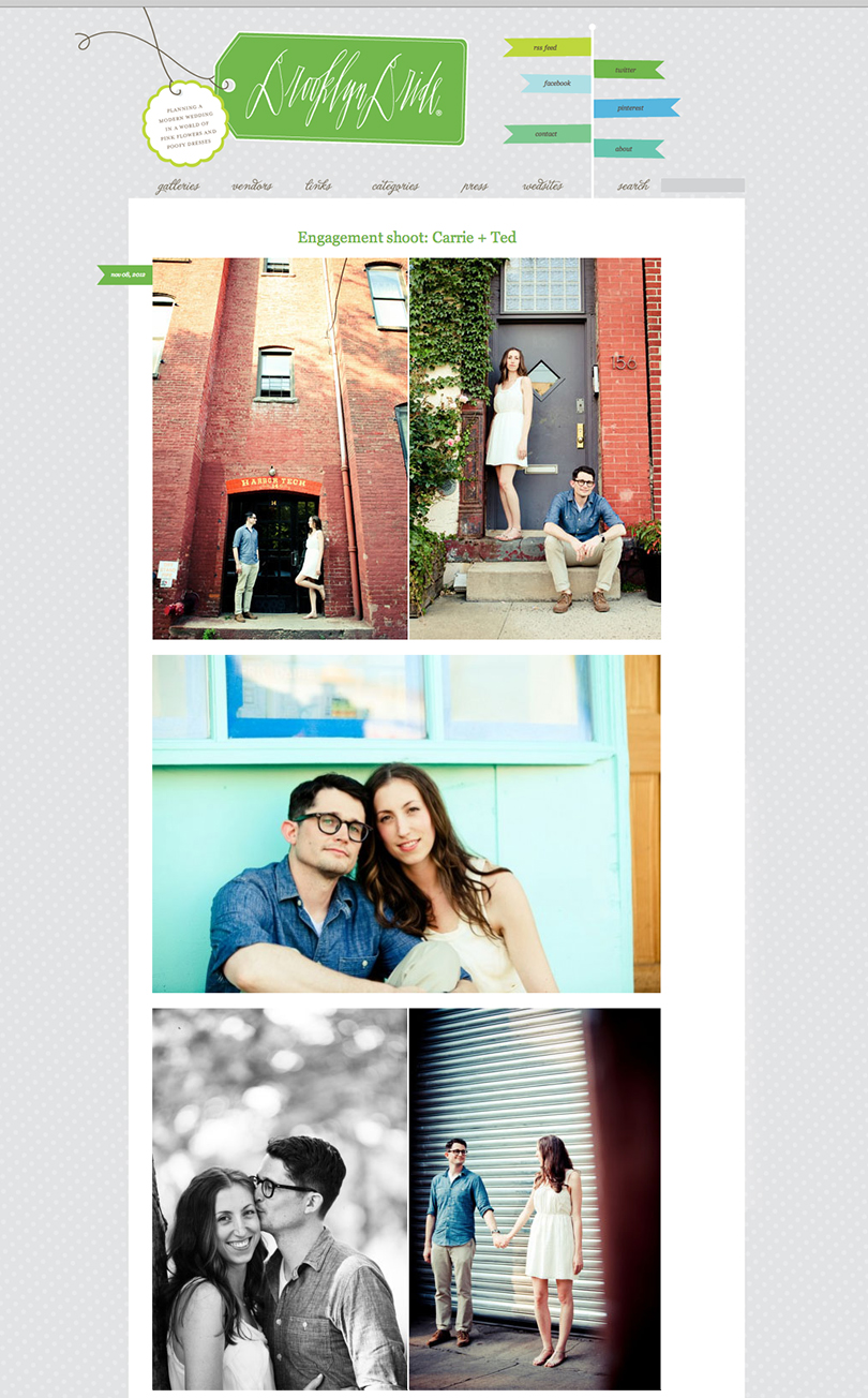 brooklynbridestudiofinchfeature Freatured: Carrie and Teds engagement session in Brooklyn Bride