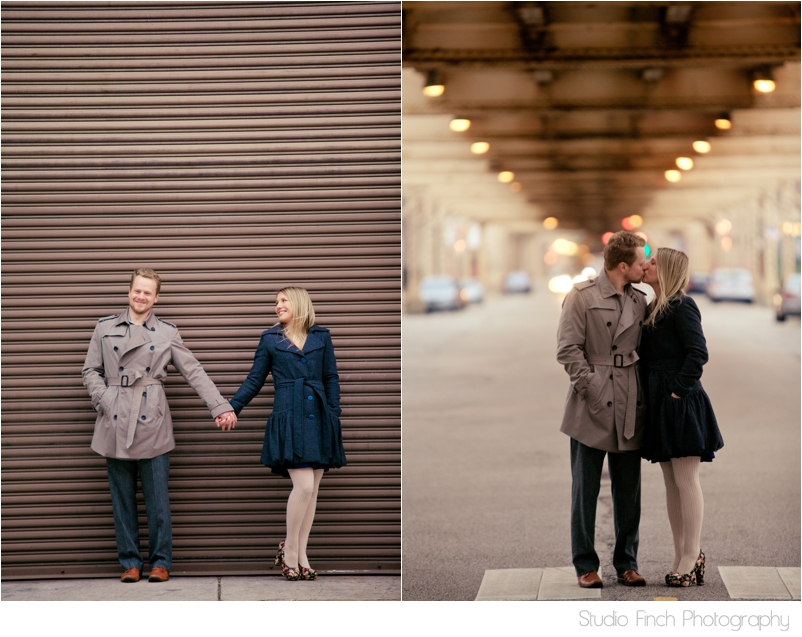 Under the El Train Chicago Engagement Photo by Studio Finch