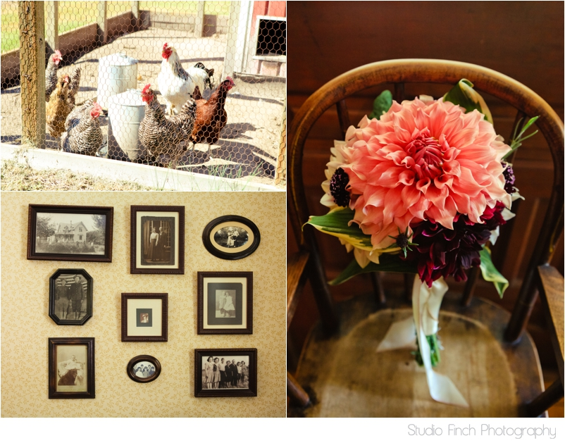 Lake Michigan Wedding Vintage Chickens and Flowers