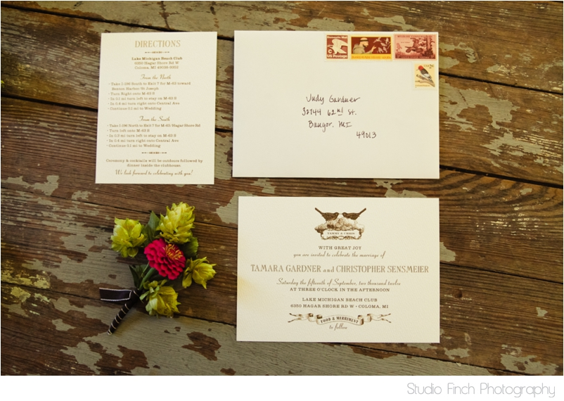 Lake Michigan Wedding Vintage invites