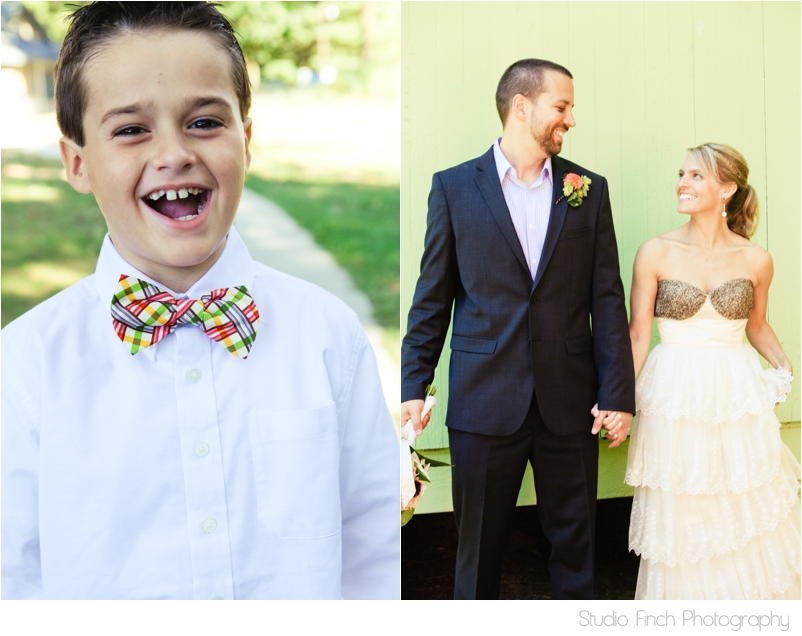 Lake Michigan Wedding Cute Boy in Bow Tie and Happy Couple