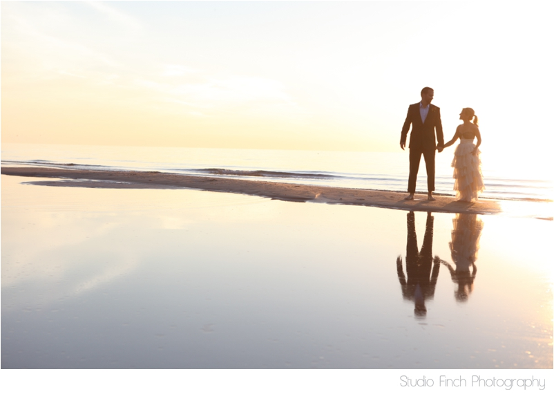 Lake Michigan Wedding Reflection Sunset Photo Studio Finch