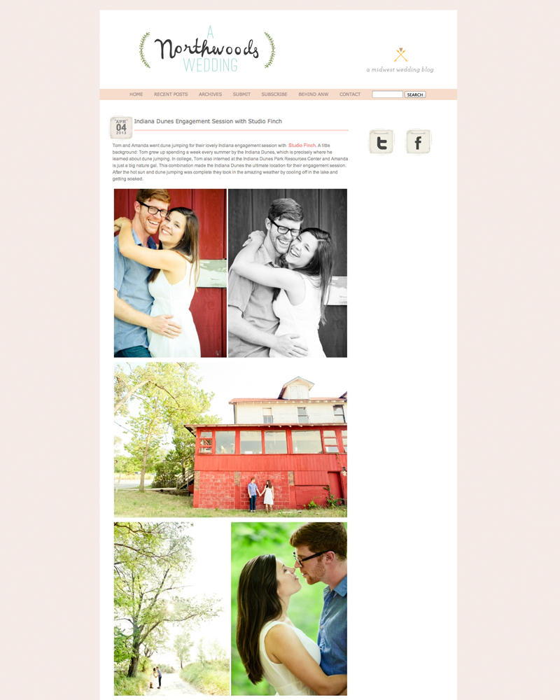 Studio Finch Chicago Engagement Featured in A Northwoods Wedding