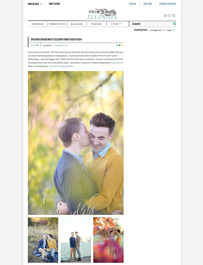 owen and matt featured on Style Me Pretty Owen and Matts Chicago Engagement Photography Featured in Style Me Pretty  Illinois!