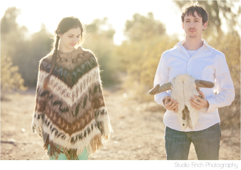 Arizona Desert Engagement Photography Skull