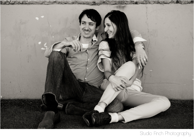 Black and White Grungy Wall Arizona Engagement Photography