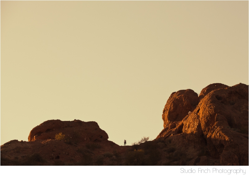 Sunset Desert Mountain Arizona Engagement Photography