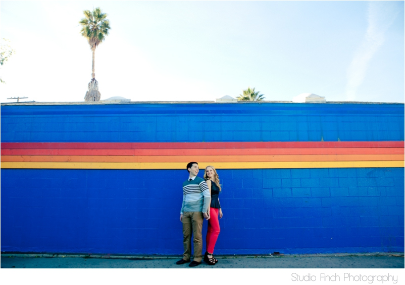 Venice Beach Engagement Rainbow Wall