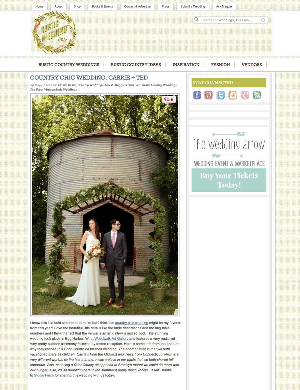 door county wedding photography featured in rustic wedding chic