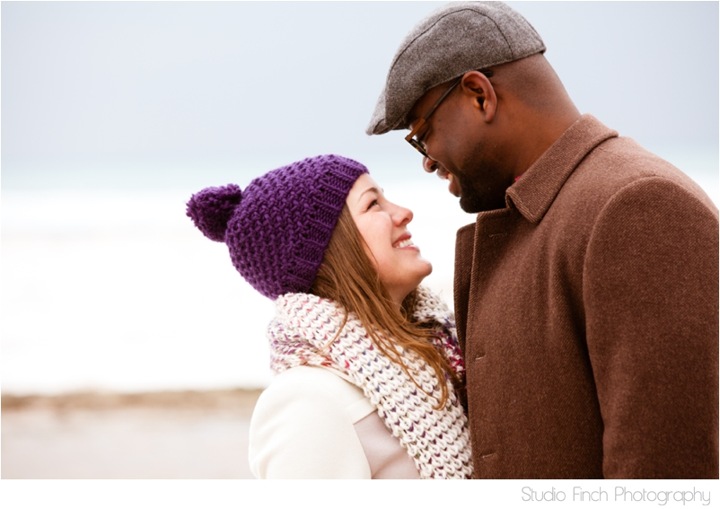 Chicago winter engagement session Lake Michigan