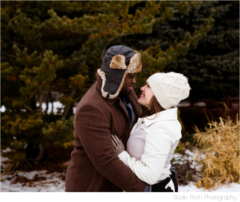 Chicago winter engagement session Lincoln Rogers Park Nature