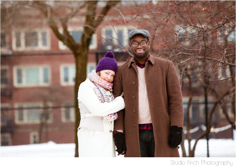 Chicago winter engagement session Rogers Park