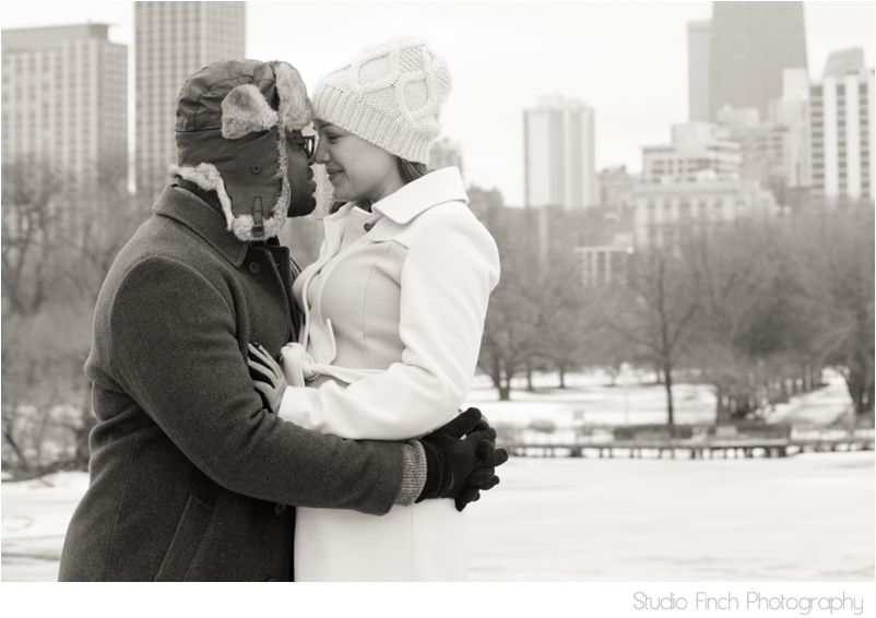 Chicago winter engagement session Chicago Skyline Cityscape